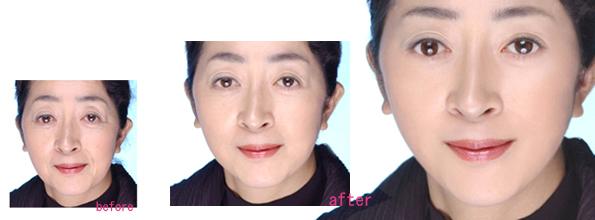 下の写真は60代から30代への段階的修正例です。肌のたるみなどを考慮して、補正してみました。